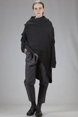 cape with frayed edges and panels in cotton gauze and light wool cloth  - 275