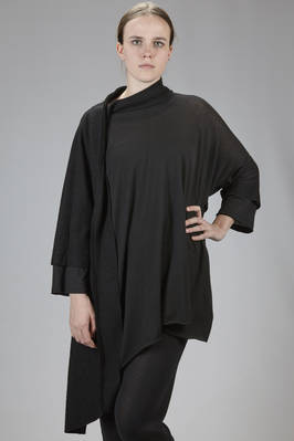 tunic asymmetric sweater with patchwork of boiled wool and cotton and wool jersey  - 275