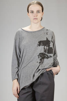 wide t-shirt in wool and cotton jersey with brick printing on the breast  - 275