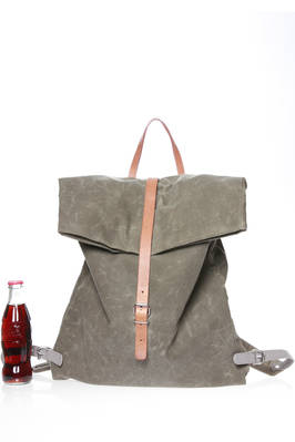 rectangular backpack in waterproof British Millerain with leather shoulder straps  - 279