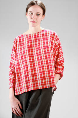 hip-length shirt in cotton poplin with multicolour check pattern  - 277