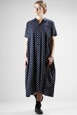 long dress in light washed rayon canvas with polka-dots pattern  - 157