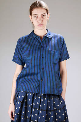 shirt in washed linen canvas and printed with and irregular vertical stripe  - 157