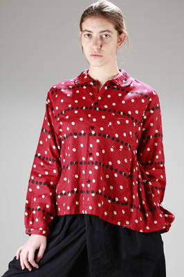 shirt in washed linen canvas and printed with bi-colour polka-dots  - 157