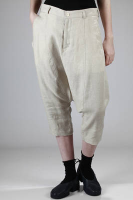 classic sarouel trousers in light washed linen canvas  - 157