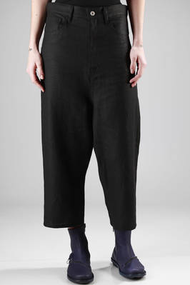 wide trousers in linen canvas, 5 pockets  - 74
