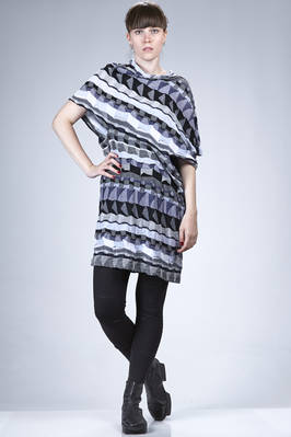 long and asymmetric sweater in cotton jersey with a multicolour mosaic pattern  - 74