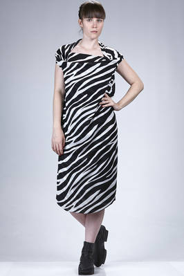 calf-length dress in polyester georgette with a zebra-stripes print  - 74