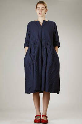 wide calf-length dress in washed cotton canvas  - 195