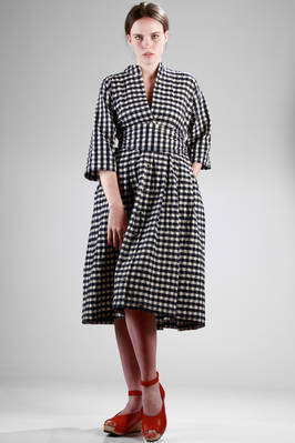 under-the-knee wide dress (cm 112) in washed and creased cotton vichy  - 195