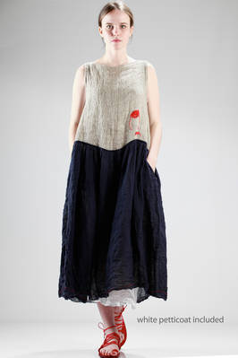 long and wide dress with natural linen bodice and navy embossed linen gauze skirt  - 195