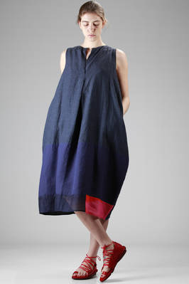 calf-length linen dress with different shades and manufacturing patchwork  - 195