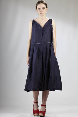 calf-length wide dress in very light linen canvas  - 195