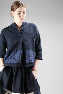hip-length linen shirt with different shades and manufacturing patchwork  - 195