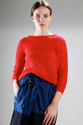 hip-length sweater in hand-knitted linen with small square in contrasting colour  - 195