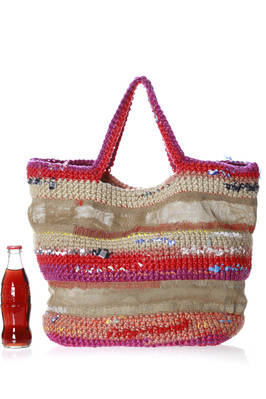 shopper bag in irregular linen net and multicolour crochet knitting  - 195