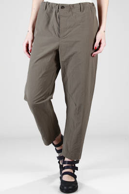 wide trousers in light creased cotton canvas with weft slim horizontal stripes  - 161
