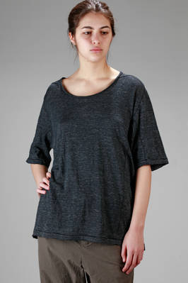 long and wide t-shirt in linen and elastan melange jersey  - 161