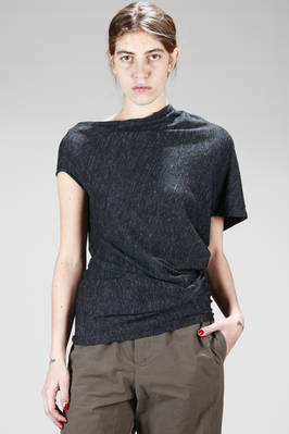 asymmetric top with diagonal construction in linen and elastan melange jersey  - 161