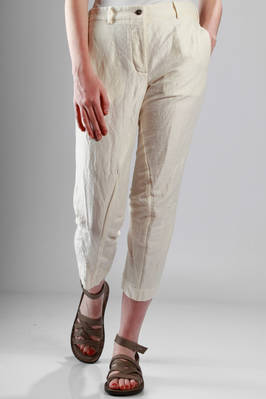 trousers in creased ramié and cotton creased canvas  - 161