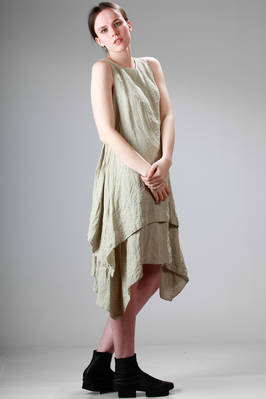 asymmetric dress in washed and pierced linen canvas  - 161