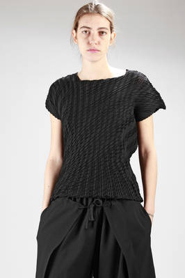asymmetric top in very light polyester diagonal checked pleating  - 47