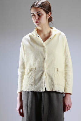 wide and doubled jacket: narrow cotton pleating and cotton canvas  - 123