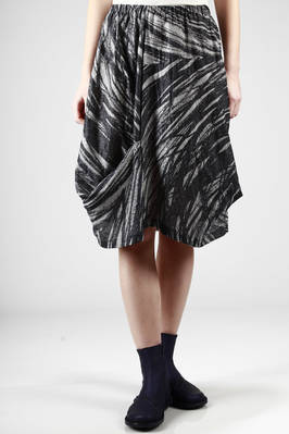 under-the-knee skirt in gauzed cotton, rayon and silk canvas with 'graffiti' printing  - 123