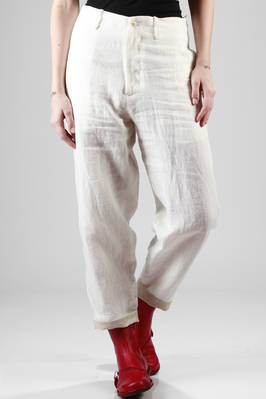 wide trousers in washed linen canvas  - 97