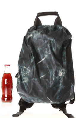 backpack in glossy polyamide canvas with a water effect printing and leather parts  - 97