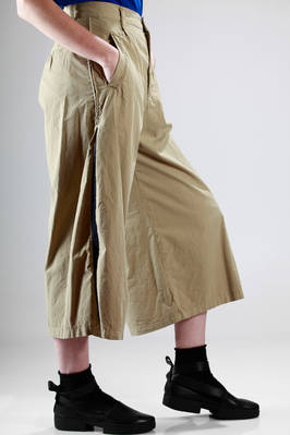 wide trousers in cotton canvas with side braid band in contrasting color - ZUCCA