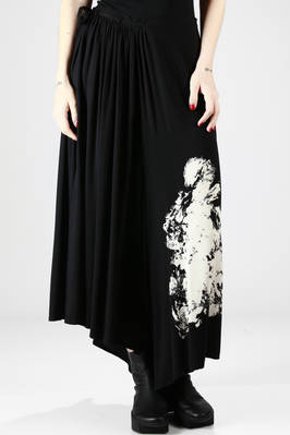 long divided skirt in light viscose canvas with abstract paint printing  - 73
