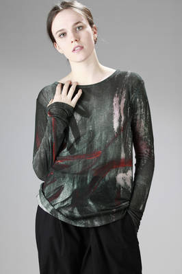 hip-length t-shirt in very light viscose jersey completely hand-painted  - 73