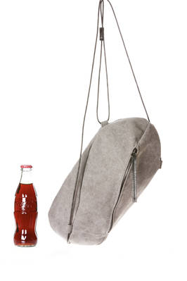 small rugby ball-shaped bag in cotton canvas with leather cord handle  - 289