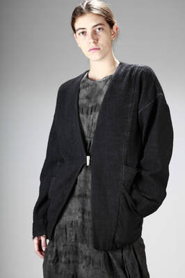 hip-length jacket in cotton and polyamide dyed canvas manufactured with a loom effect  - 275