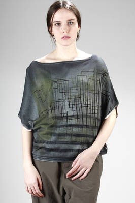 wide sweater in viscose and elastan jersey with shaded graffiti printing  - 262