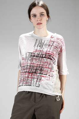 hip-length sweater in linen jersey with bicolour graffiti printing with a side development  - 262