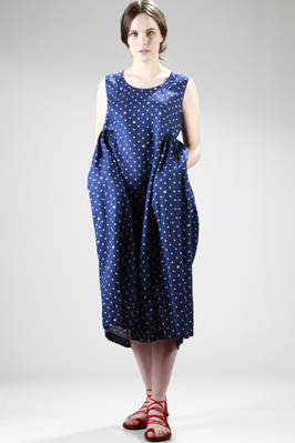 calf-length wide dress in washed linen canvas with polka-dots printing  - 157