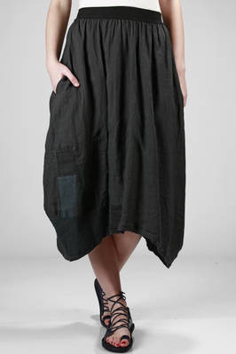 long and flared skirt made with a patchwork of vintage fabric pieces of cotton, linen and silk  - 293