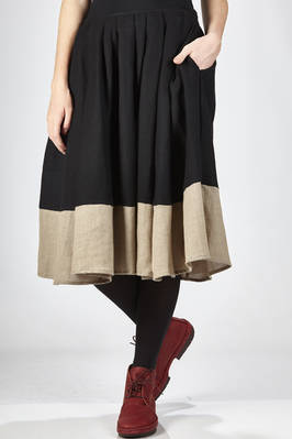 calf-length skirt in bicolor soft wool and linen cloth  - 277