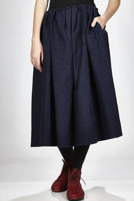 long and wide skirt in rigid cotton and linen hand denim cloth  - 277