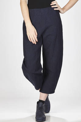 ankle-length trousers in rigid cotton and linen hand denim cloth  - 277