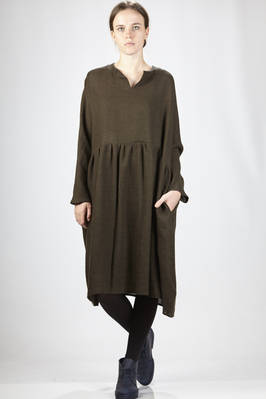 calf-length dress in wool and linen soft cloth  - 277