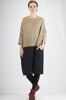 calf-length dress in soft wool cloth and bicolor linen  - 277