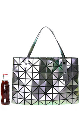 rectangular shoulder bag made of triangular iridescent polished PVC plates  - 237