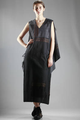 long dress in cotton, wool and cupro with patchwork of different colors, tone-on-tone effect and ikat threads  - 202