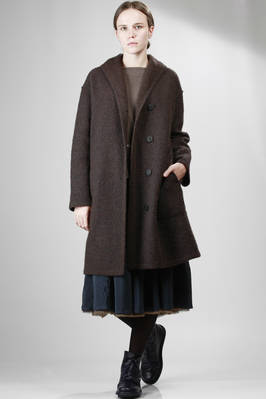 calf-length coat in wool cloth, nylon mixture and hand made cashmere, single breasted  - 202