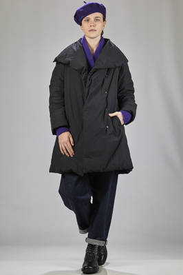 knee-length padded jacket in opaque nylon cloth and feather padded  - 111