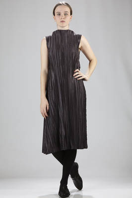 longuette dress in polyester plissè with wide vertical two-toned canes  - 111