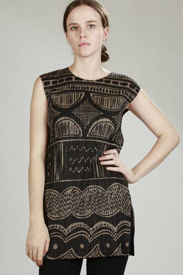 straight tunic in tight vertical plissè with ceramic print  - 111